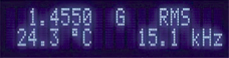 display showing field, frequency, and probe temp