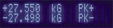 display showing peak readings