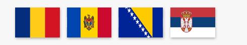Romania, Moldova, Bosnia-Herzegovina, and Serbia