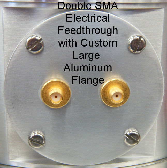 Double SMA Feedthrough Large Custom Al Flange