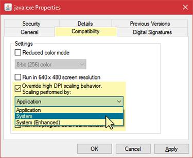 Java files properties settings